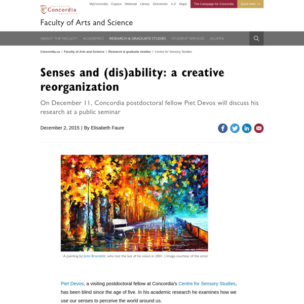 Centre for Sensory Studies postdoctoral fellow Piet Devos will discuss his research at a public seminar