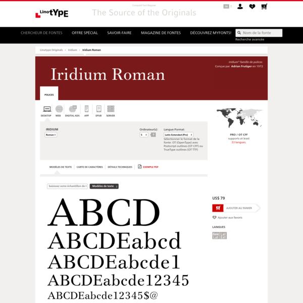 Iridium® Roman Fonte - Options de mise sous licence | Linotype.com