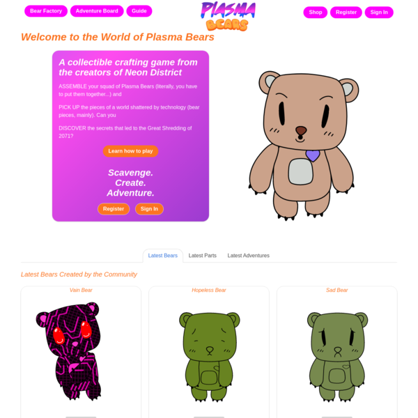 Plasma Bears: A Collectible Crafting Game