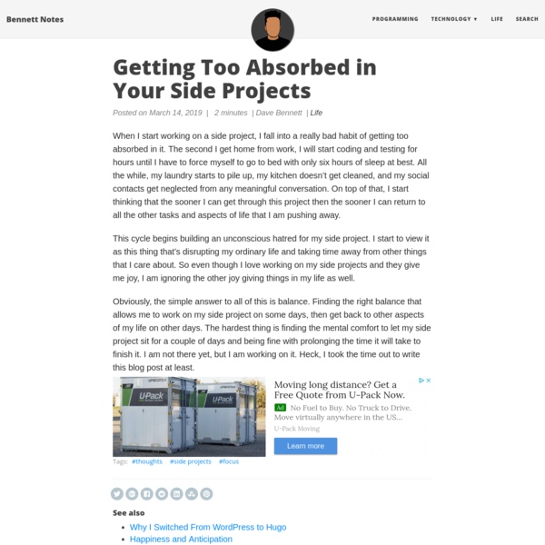 Getting Too Absorbed in Your Side Projects