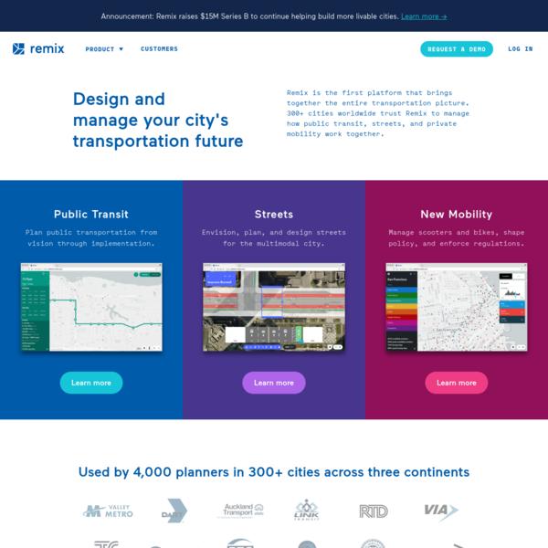 Remix: The platform for designing your city's transportation future
