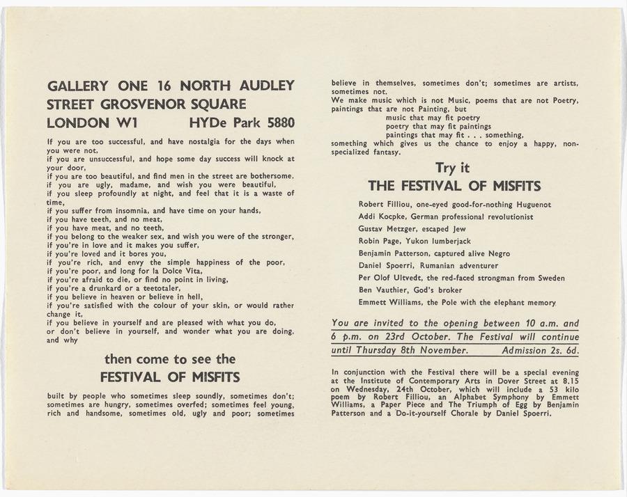 <i>Flyer for Festival of Misfits</i>, 1962