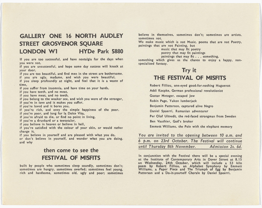 <i>Flyer for Festival of Misfits</i>, 1962