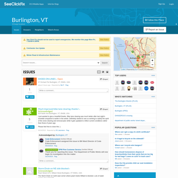 Burlington, VT - Report potholes, graffiti, street light out, and other community issues.