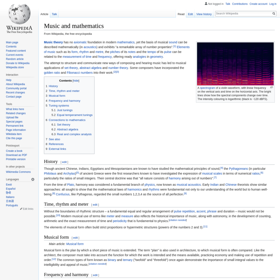 """Music theory has no axiomatic foundation in modern mathematics, yet the basis of musical sound can be described mathematically (in acoustics) and exhibits """"a remarkable array of number properties"""". Elements of music such as its form, rhythm and metre, the pitches of its notes and the tempo of its pulse can be related to the measurement of time and frequency, offering ready analogies in geometry."""