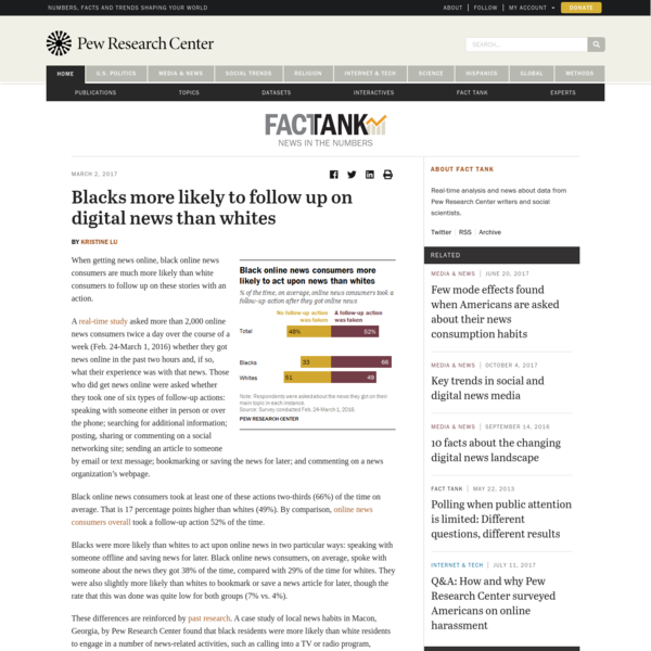 Blacks more likely to follow up on digital news than whites