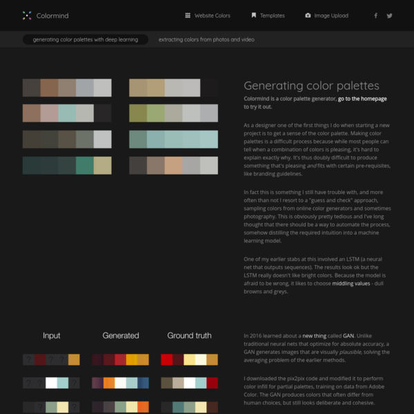 Colormind blog - generating color palettes with deep learning
