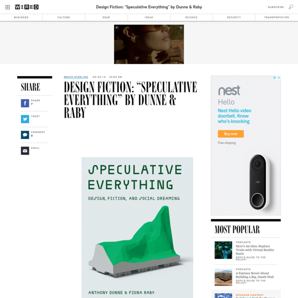 """Design Fiction: """"Speculative Everything"""" by Dunne & Raby"""