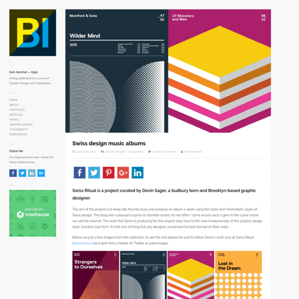 The aim of the project is to keep idle thumbs busy and produce an album a week using the clean and minimalistic styles of Swiss design. This blog was a pleasant suprise to stumble across. Its not often I come across such a gem in this cyber ocean we call the internet.