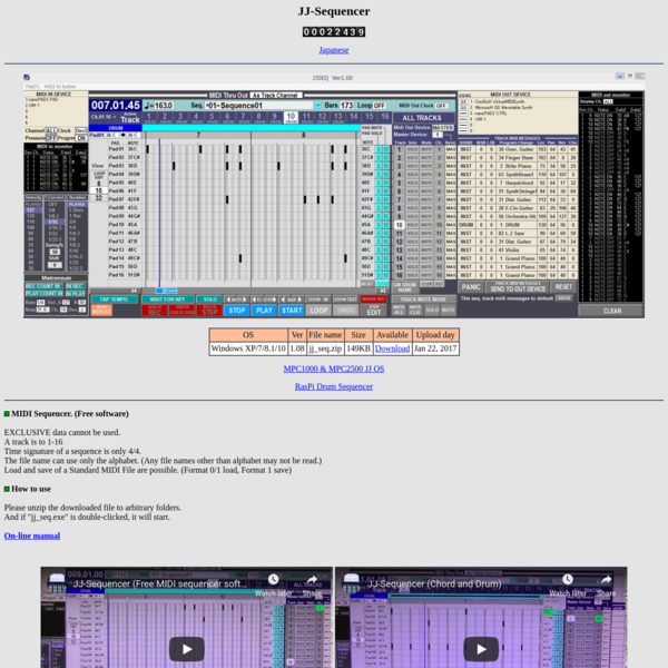 """Free MIDI sequencer software """"JJ Sequencer"""""""