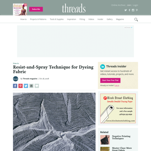 Resist-and-Spray Technique for Dyeing Fabric - Threads