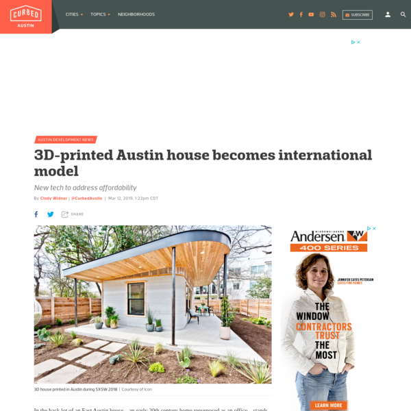 In the back lot of an East Austin house-an early 20th century home repurposed as an office-stands a sweet, tiny house made of concrete and wood. The 350-square-foot home-the first fully permitted one in the nation, was created in about 48 hours of printing time and unveiled in March 2018.