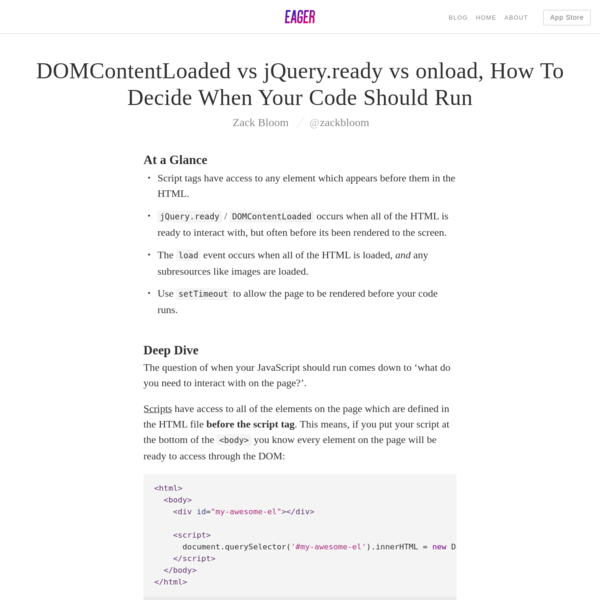 DOMContentLoaded vs jQuery.ready vs onload, How To Decide When Your Code Should Run - Eager Blog