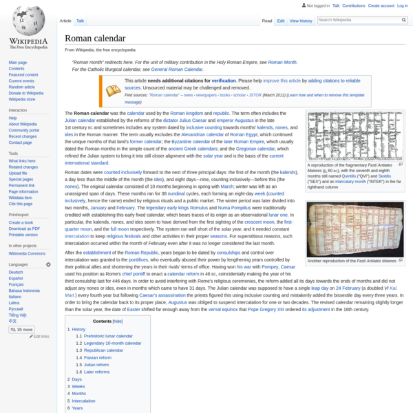 Roman calendar - Wikipedia