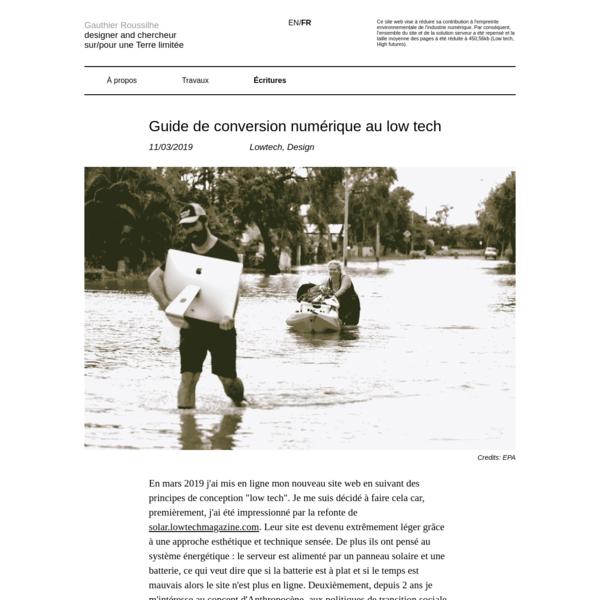 Gauthier Roussilhe | Guide de conversion numérique au low tech
