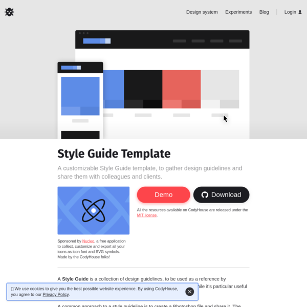 Style Guide Template in CSS | CodyHouse