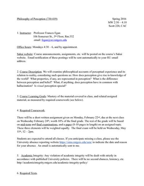 Rutgers PHIL416: Philosophy of Perception