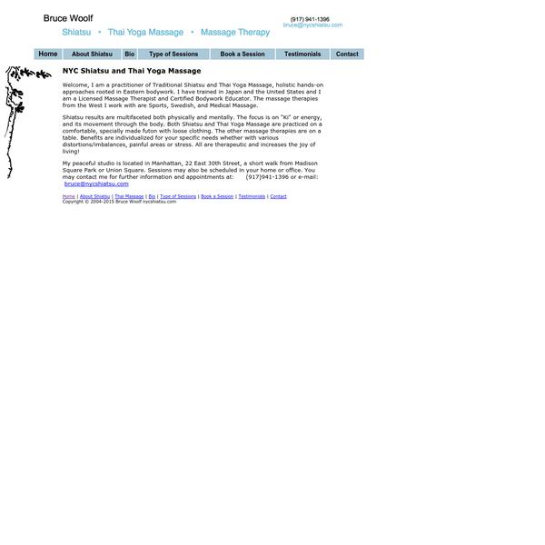 NYC Shiatsu and Thai Massage | Massage Therapist Bruce Woolf
