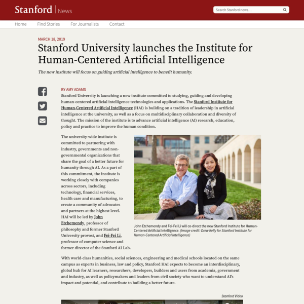 Stanford University launches the Institute for Human-Centered Artificial Intelligence | Stanford News