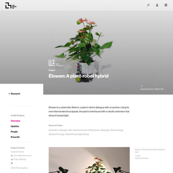 Project Overview ‹ Elowan: A plant-robot hybrid - MIT Media Lab