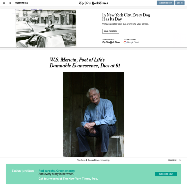 W.S. Merwin, Poet of Life's Damnable Evanescence, Dies at 91