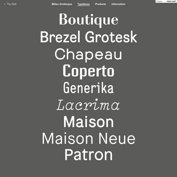 Milieu Grotesque is a Berlin-Zurich-based, independent publisher and distributor of typefaces and related products. Set up by Timo Gaessner and Alexander Colby in 2010.