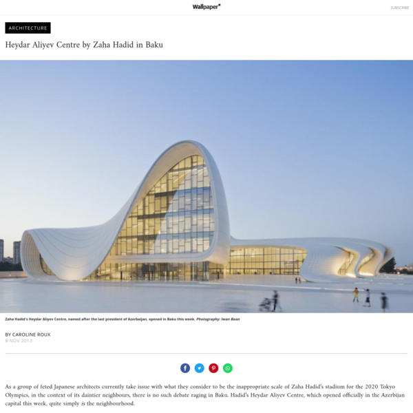 As a group of feted Japanese architects currently take issue with what they consider to be the inappropriate scale of Zaha Hadid's stadium for the 2020 Tokyo Olympics, in the context of its daintier neighbours, there is no such debate raging in Baku. H...