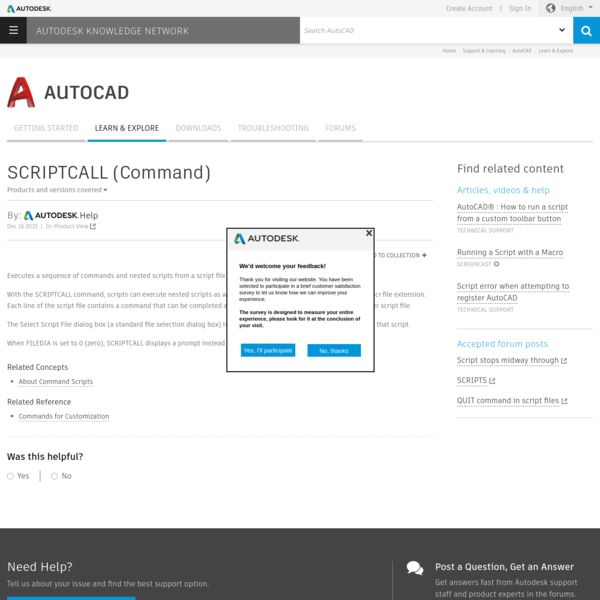 SCRIPTCALL (Command) | AutoCAD 2016 | Autodesk Knowledge Network
