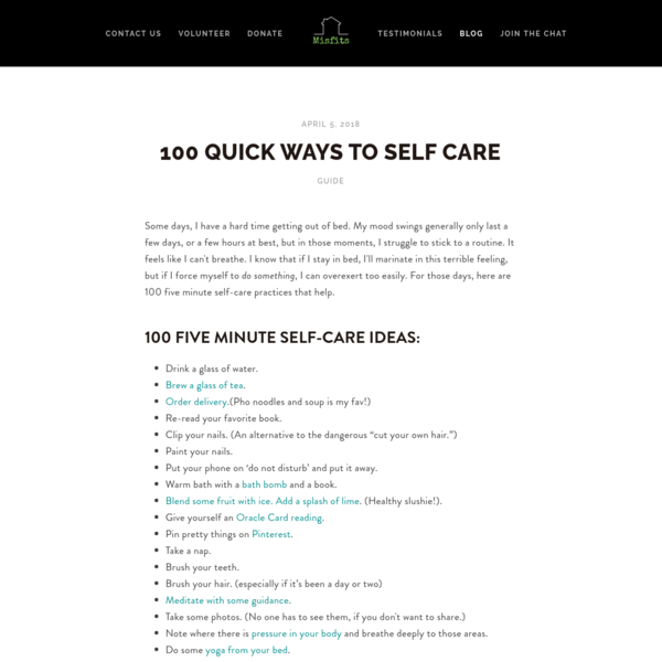 100 Quick Ways to Self Care