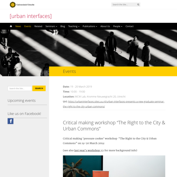 """Critical making workshop """"The Right to the City & Urban Commons"""""""