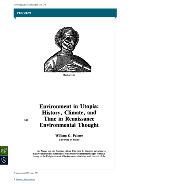 William G. Palmer, Environment in Utopia: History, Climate, and Time in Renaissance Environment Thought, Environmental Review: ER, Vol. 8, No. 2 (Summer, 1984), pp. 162-178