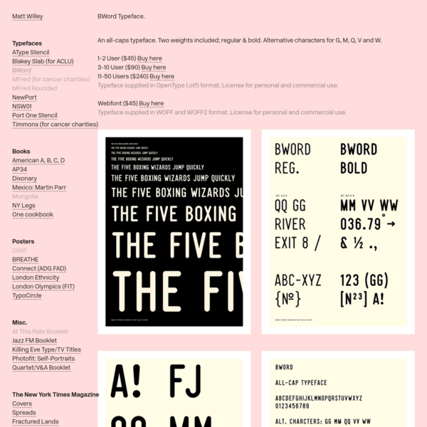 BWord Typeface * - Matt Willey