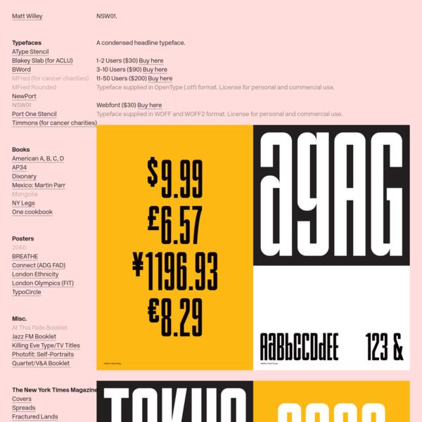 NSW01 Typeface * - Matt Willey