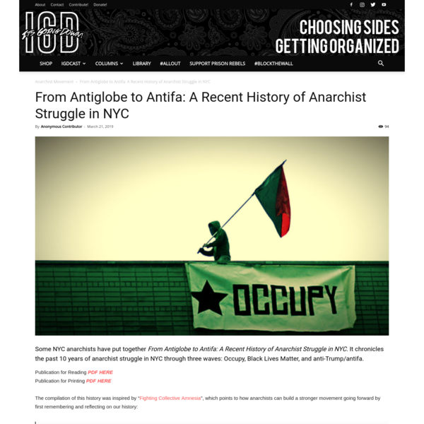 From Antiglobe to Antifa: A Recent History of Anarchist Struggle in NYC - It's Going Down