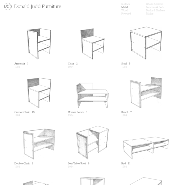 Donald Judd Furniture continues to be made to his original specifications, stamped and numbered sequentially. Over 70 of his designs are available for custom order.