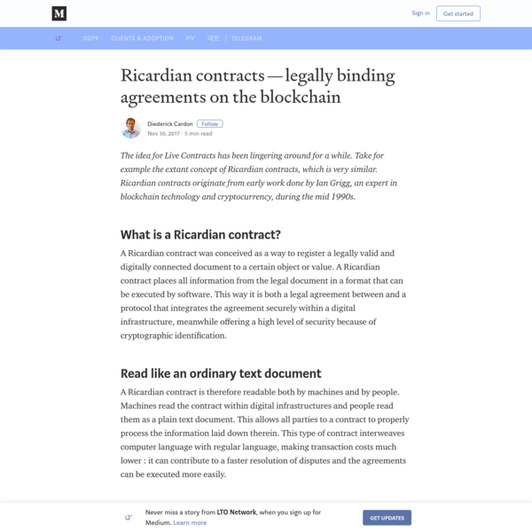 Ricardian contracts - legally binding agreements on the blockchain