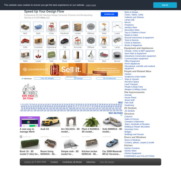 Free 3D Models and Objects Archive. Download: 3ds , obj , gsm , max models