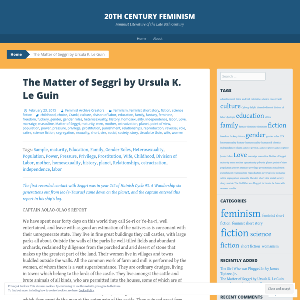 The Matter of Seggri by Ursula K. Le Guin