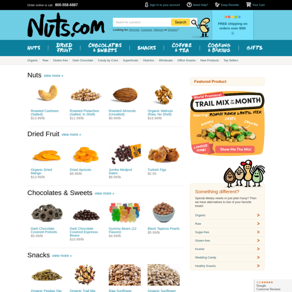 Nuts.com | Bulk & Snack-size Nuts, Dried Fruits, Sweets, Specialty Baking Products & More!