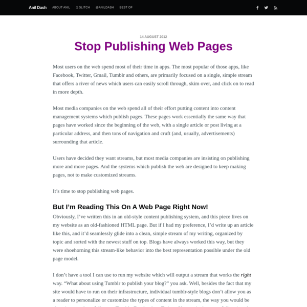 Stop Publishing Web Pages