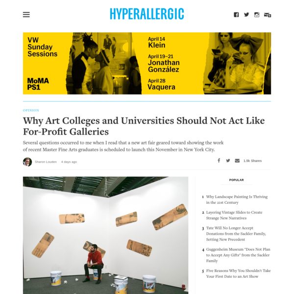 Why Art Colleges and Universities Should Not Act Like For-Profit Galleries