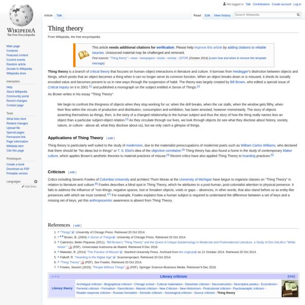 Thing theory - Wikipedia
