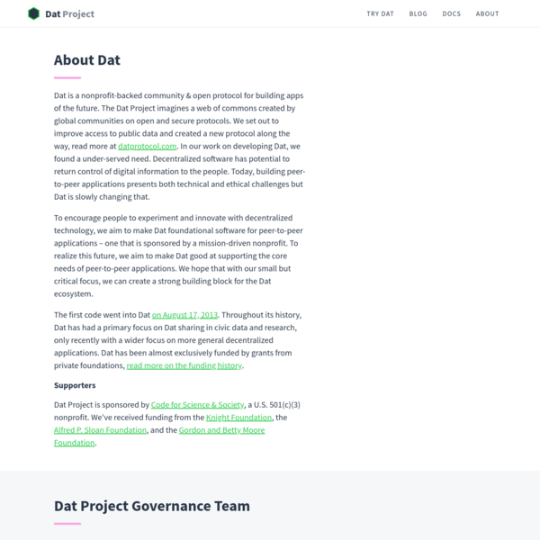 Dat Project - A Community-Driven Web Protocol