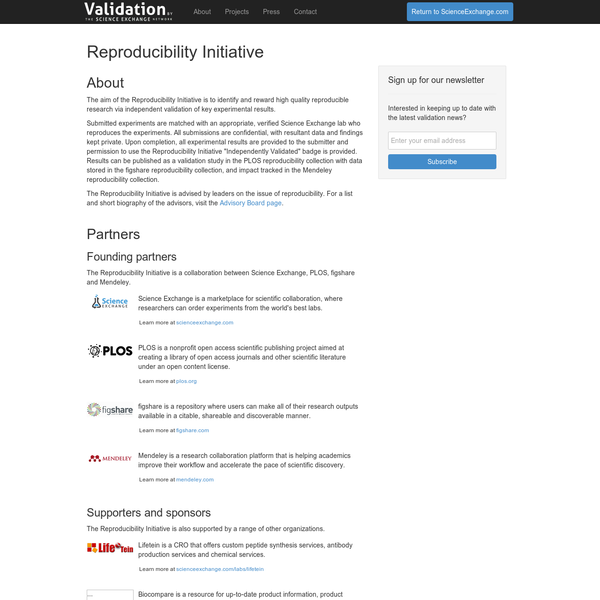 Validation by Science Exchange - Identifying and rewarding high-quality research