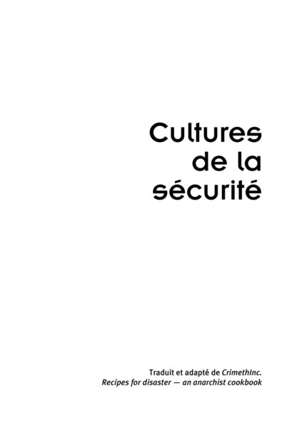 Cultures de la sécurité