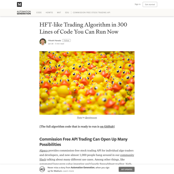 HFT-like Trading Algorithm in 300 Lines of Code You Can Run Now