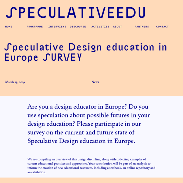 SpeculativeEdu | Speculative Design education in Europe SURVEY