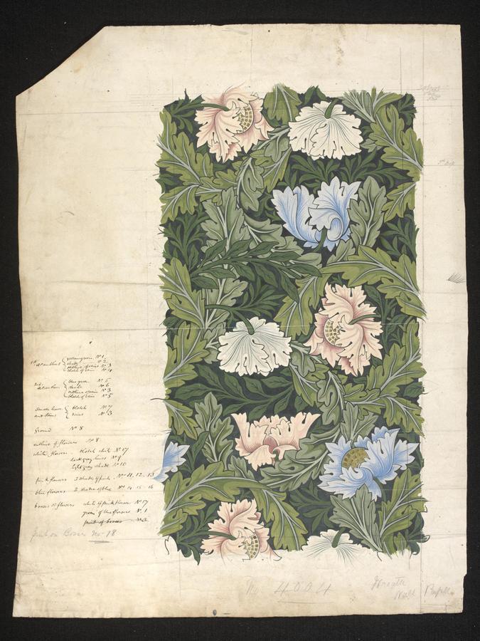 Morris & Co, 'Wreath' or 'Poppy', 1880