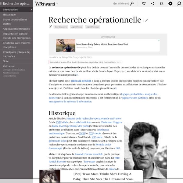 Recherche opérationnelle | Wikiwand