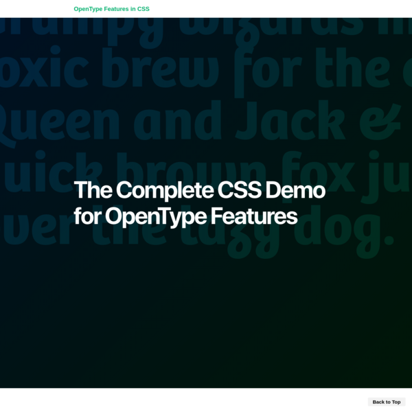 The Complete CSS Demo for OpenType Features
